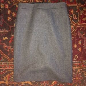 J CREW WOOL NO. 2 PENCIL SKIRT GRAY SIZE 0
